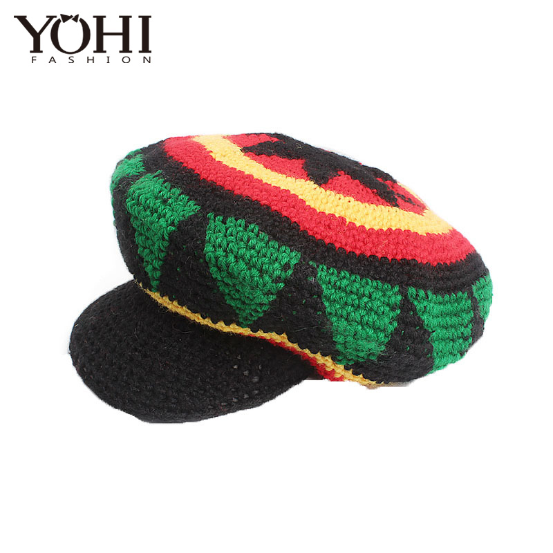 99c9cbb1b New fashion Fancy Dress Party Costume Hippie beret Marley Caribbean Popular  handmade crocheted hat along the wool cap