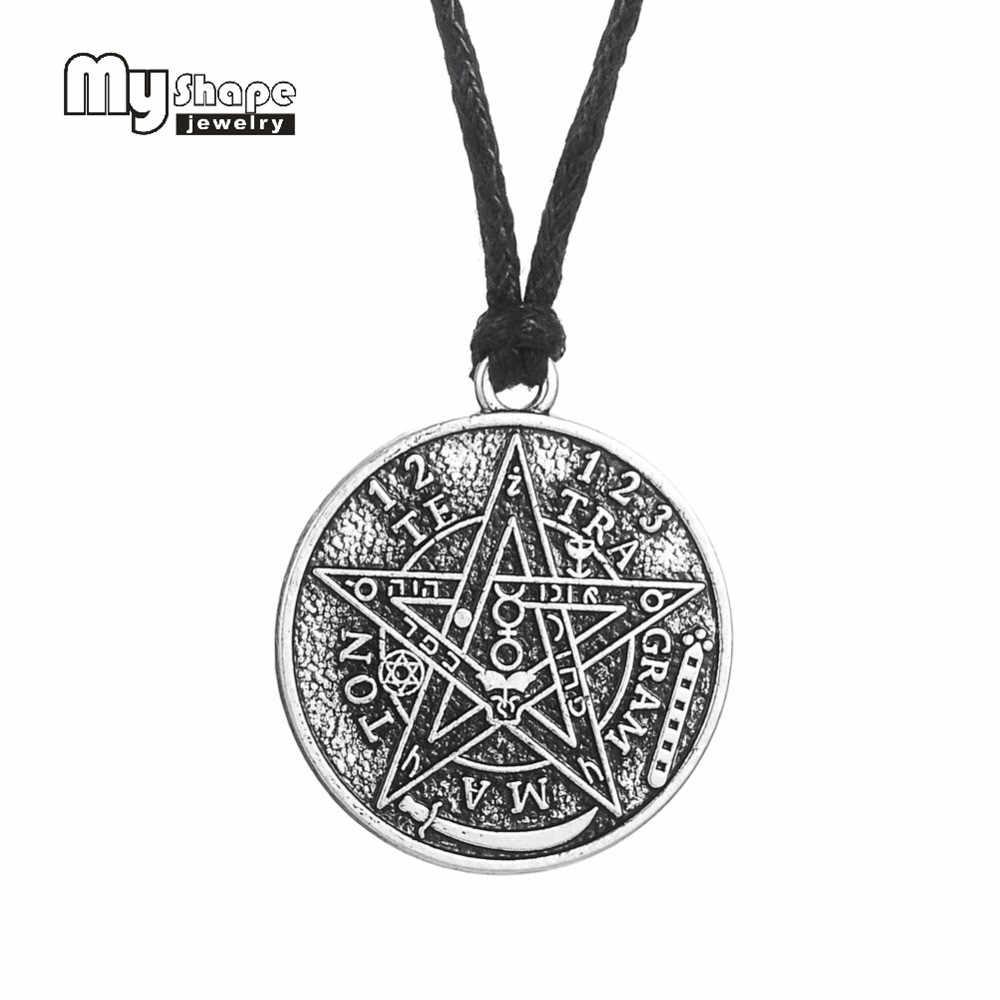 Mój kształt antyczny tetragram Pentagram Pentagram wisiorek naszyjnik charms Wiccan talizman Pagen biżuteria Amulet hurt
