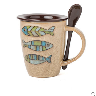 creative Ceramic Mugs Coffee and Milk Cups Cute Cartoon Fish Pattern Mugs with Lid and Spoon Casual Novelty Birthday Gift ZSJ003