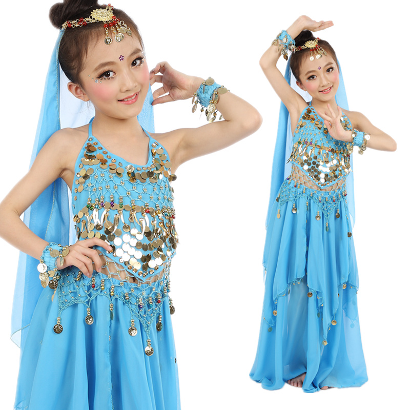 Children Belly Dancing Costume Kids Indian Dance Dress 5 Pcs Bollywood Dance Costumes For Girls Performance Dancing Sets