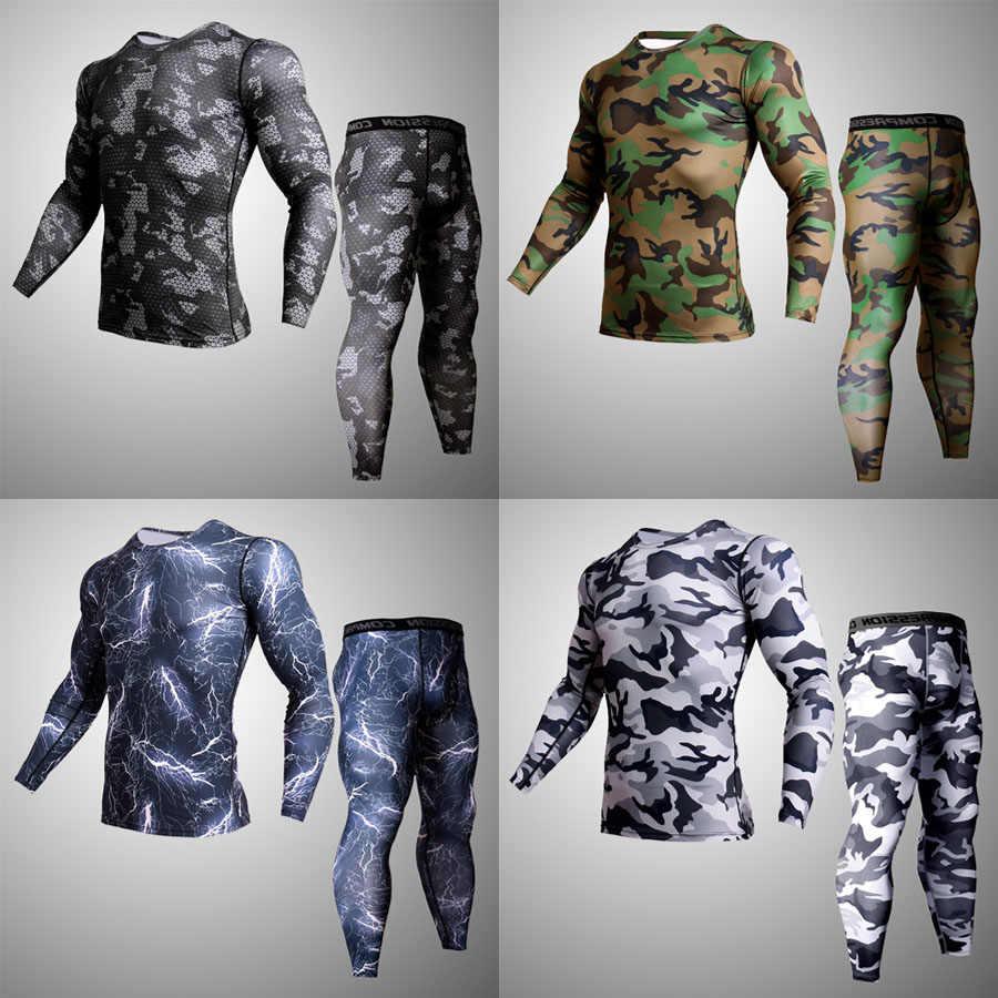 Conjunto de ropa interior deportiva para hombre, camiseta de camuflaje, mallas, conjunto de ropa deportiva de 2 piezas, ropa interior de compresión deportiva