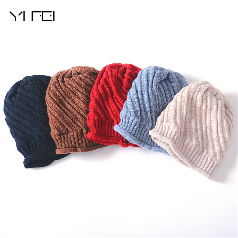 YIFEI Beanies Men Winter Hats Women Knitted Hat Bonnet Caps Baggy Women's Winter Hats For Men Warm Wool Skullies Beanie New 2017 brand winter beanies men knitted hat winter hats for men warm bonnet skullies caps skull mask wool gorros beanie 2017