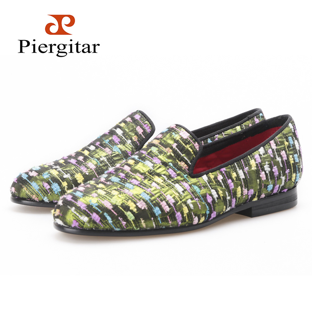 PIERGITAR New Women Silk shoes with mixed colors and striped design Jacquard cloth woman's flats Party and Prom women loafers jacquard green label silk colors cyan [pack of 3 ]