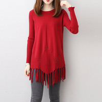 Plus Size Knitwear Tops Tassels Long Sleeve Slim Solid Beading Knitting Blouses Winter Sweater Tops Korean