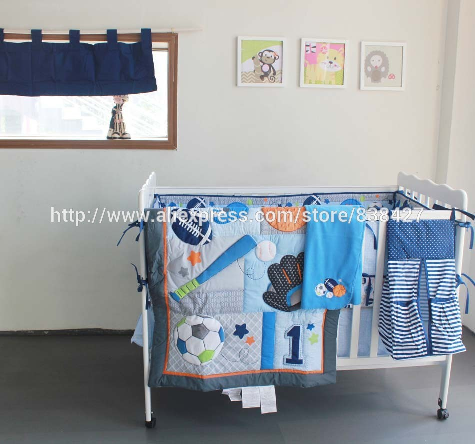 Aliexpress.com : Buy 8 pcs Baby crib bedding sets Baseball Sports baby boy sports crib bedding sets baby bed cot sheet from Reliable bedding set luxury ...
