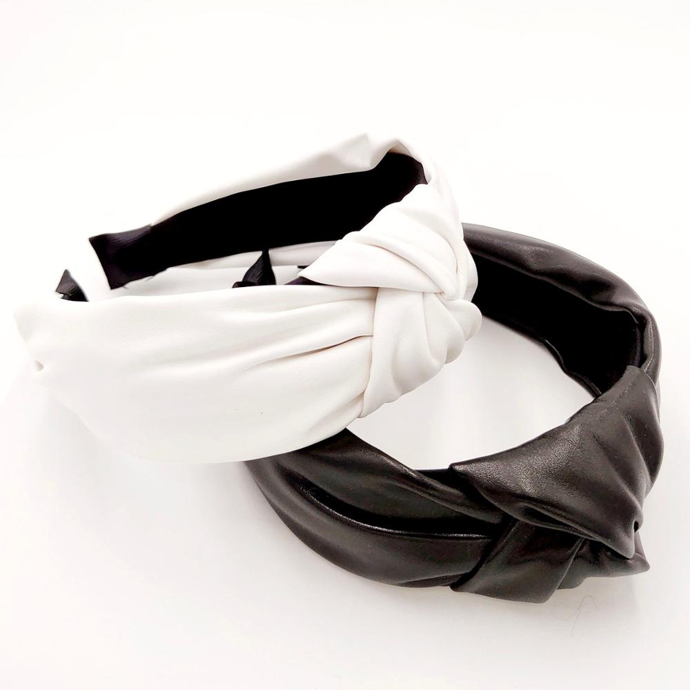 New Arrival Black & White PU Headband Front Knot Solid Color Stylish Headband For Women Fashion Hair Accessories