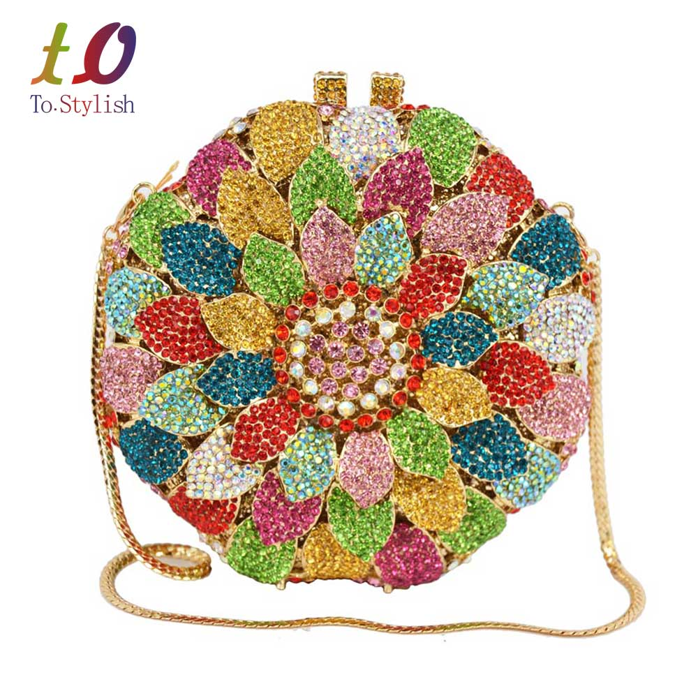 ФОТО Sunflower petals india bag women bridal accessories banquet evening bag female rostone Crystal Clutch bag party purse SC202