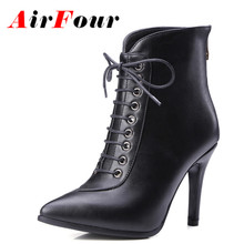 Airfour Winter High Heels Cross Lace-up Ankle Boots Women Zipper Black White Red Shoes Fashion Thin Heel Platform