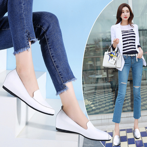 Image 5 - STQ 2020 Autumn Women Ballerina Flats Shoes Women Genuine Leather Shoes Slip On Loafers Women High Increase Heel Shoes 1188