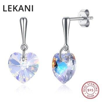 Женские серьги-капельки LEKANI, яркие серьги из стерлингового серебра S925 пробы с кристаллами Сваровски, подарок на свадьбу