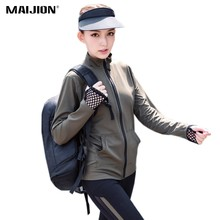 MAIJION Women Breathable Running Sport Jackets Quick Dry Long Sleeve Yoga Shirts Tops Jogging Fitness Coats Gym Sportswear(China)