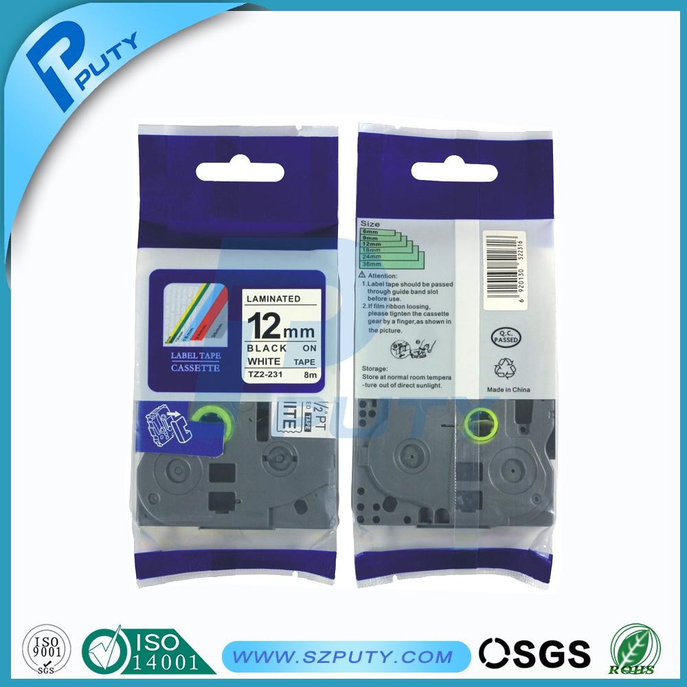 Prix pour 12 mm * 8 m Tze 231 Tze231 noir sur blanc stratifié Compatible P étiquette tactile 12 mm tze-231 cartouche de bande tz231 tze-231