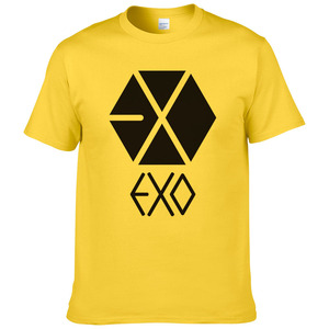 Лето 2017 г. модная Корейская экзо с коротким рукавом Печать Прохладный Футболка брендовая мужская футболка EXO Футболки для девочек #209