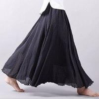 Women Long Skirts Linen Cotton Elastic Waist Pleated Maxi Skirts Beach Boho Vintage Summer Skirts