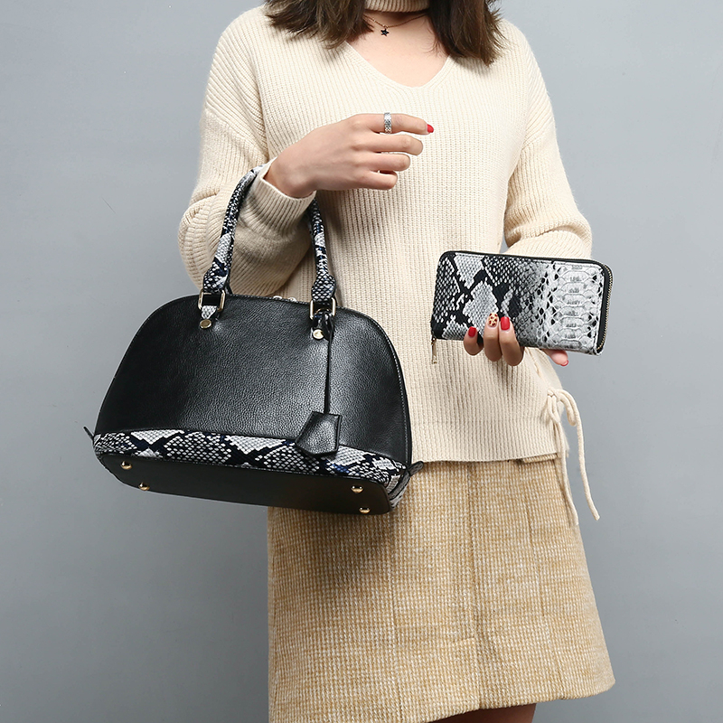 2 Pcs/Set Women Handbags Shell Female Shoulder Bags Grained PU Leather Tote