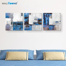 Calligraphy painting 3 panel decorative painting artificial hand painted acrylic oil painting blue drawing abstract line art
