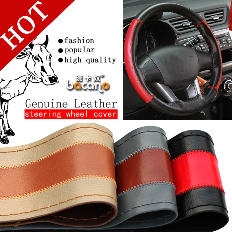 Couverture de volant en cuir véritable chaud, accessoires de style de voiture Volante Esportivo, bricolage coque fabriquée à la main avec aiguilles et fil