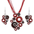 Mujeres Mejor Regalo Étnico Retro Esmalte Joyería Africana Fija el Collar + Pendientes de La Boda Establece el Color Rojo de Cristal de Piedra Bijoux