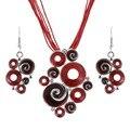 Mulheres Melhor Presente Étnica Retro Esmalte Conjuntos de Jóias Africano Conjuntos de Colar + Brincos de Casamento Cor Vermelha Pedra de Cristal Bijoux