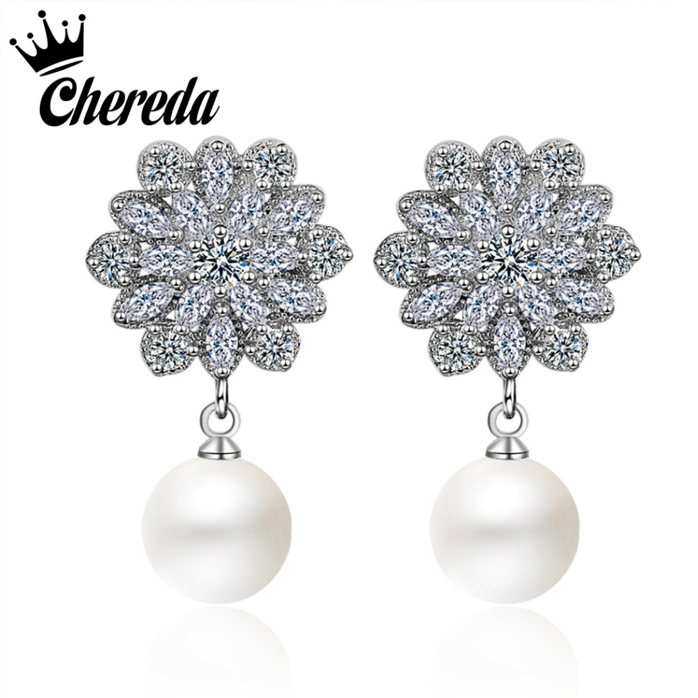 Chereda New Fashion Snowflake Shape Drop Earring Imitation Pearls Luxury Jewelry Punk Romantic Style Accessories Party Gift