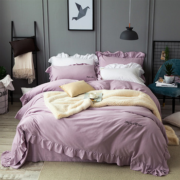 High quality Cotton Solid Color Lace Bedding Sets Luxury Bedclothes King Queen size Duvet Cover Bed Sheet Linens set Pillowcases
