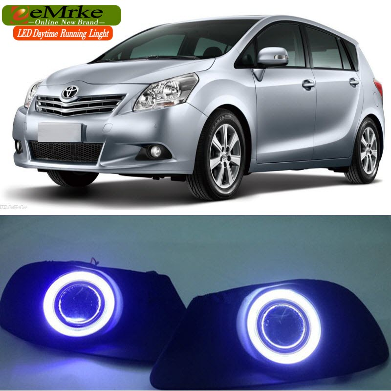 eeMrke For Toyota Verso Sportsvan COB LED Angel Eye DRL Daytime Running Lights Tagfahrlicht Halogen Bulbs H11 55W Fog Lamp Kits eemrke led angel eye drl for mazda 6 2003 2008 daytime running lights h11 55w halogen fog light lamp kits