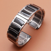 20mm 22mm Watchband Mens Women High Quality Stainless Steel Wrap Ceramic Black Band Silver Metal