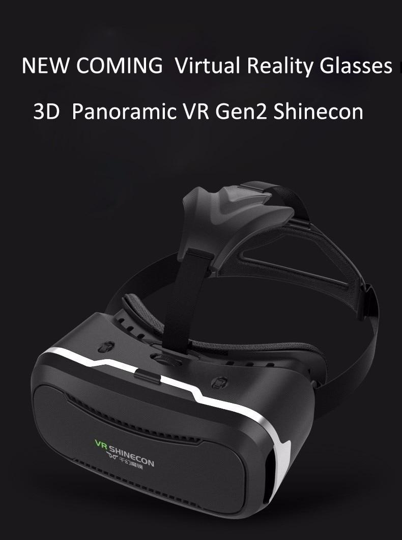 VR Shinecon 2.0 Google Cardboard VR BOX 2.0 Virtual Reality goggles VR 3D Glasses Immersive for 4.5-6.0 inch smartphones 24