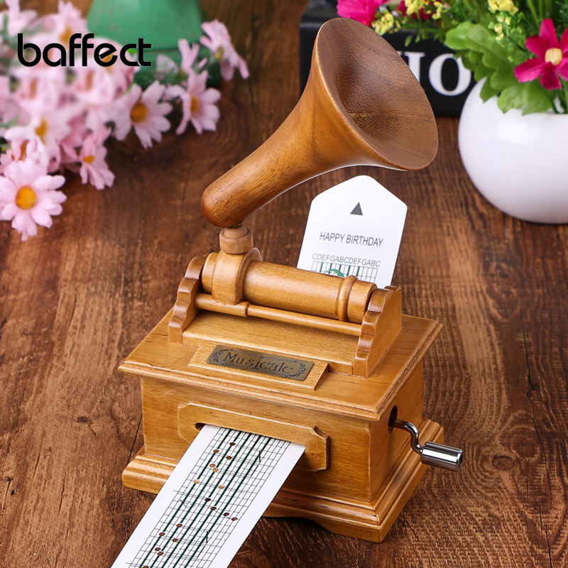 DIY Paper Tape Musical Boxes Wooden Hand Cranked Phonograph Music Box Wood Crafts Retro Birthday Gift Vintage Home Decoration