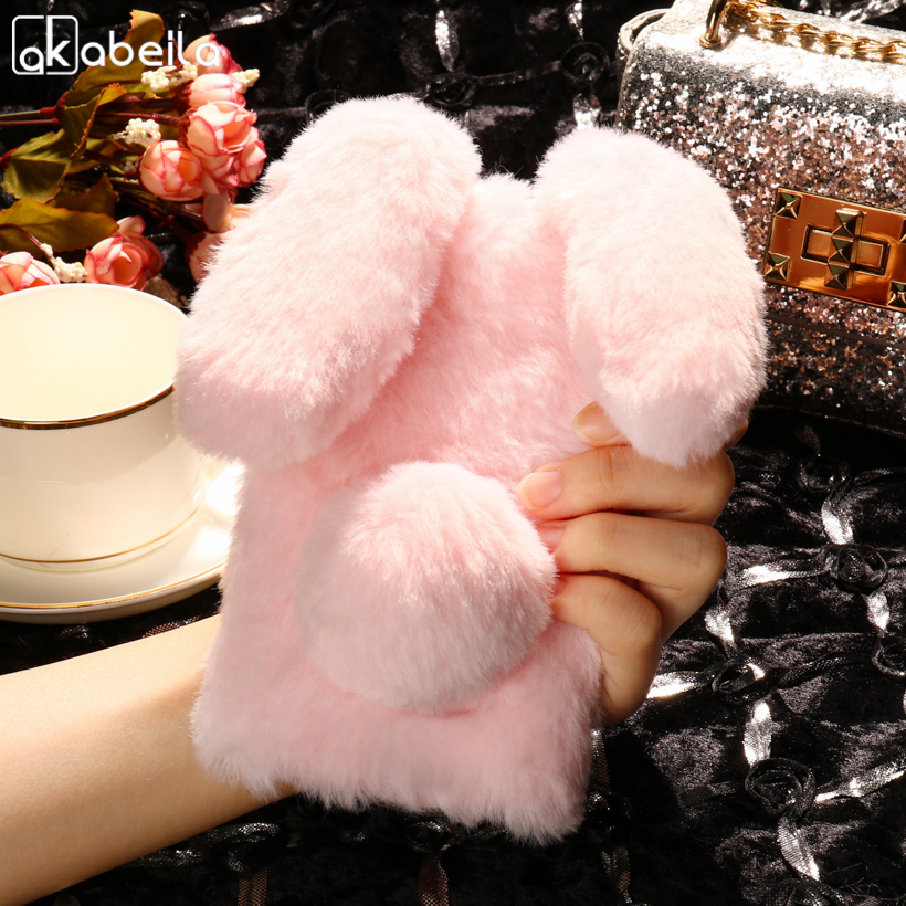AKABEILA Silicon Case For Doogee Homtom HT16 Cases Rabbit Hair Bling Diamond For Homtom HT16 Soft TPU Cute Anti-knock Cover