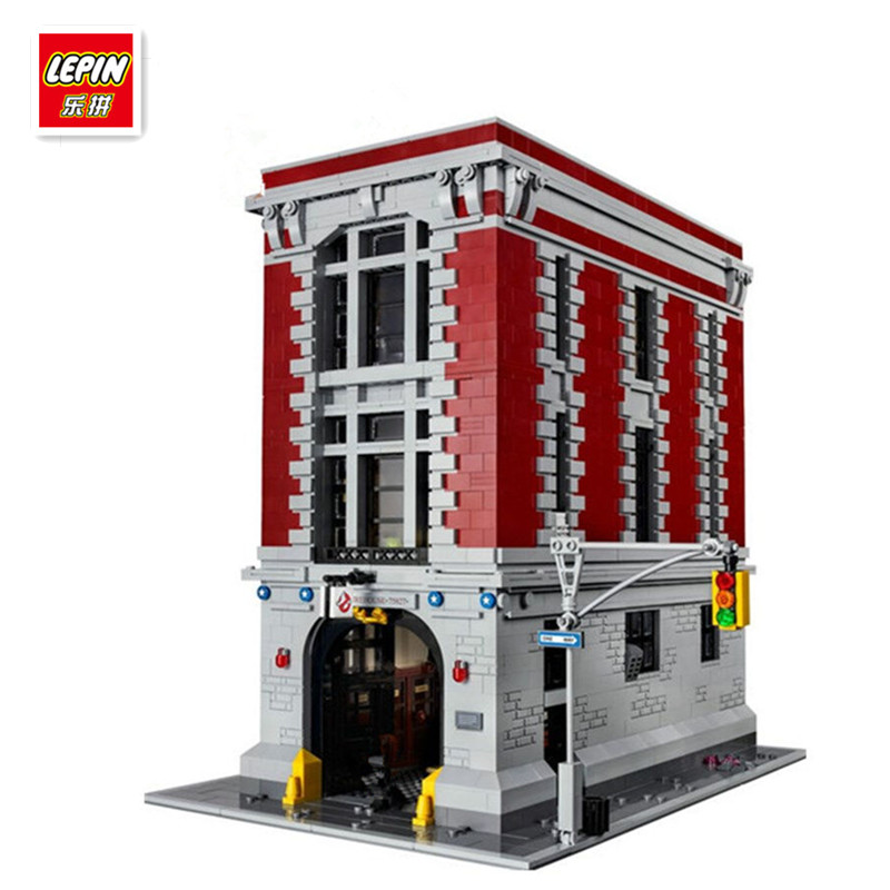 IN STOCK  Lepin 16001 Ghostbusters Firehouse building block Headquarters bricks Toy Model 4695pcs lepin 16001 city series firehouse headquarters house model building blocks compatible 75827 architecture toy to children