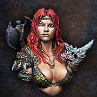 1/12 resin figure bust model female barbarian movie game character package gk hand to do white model X75