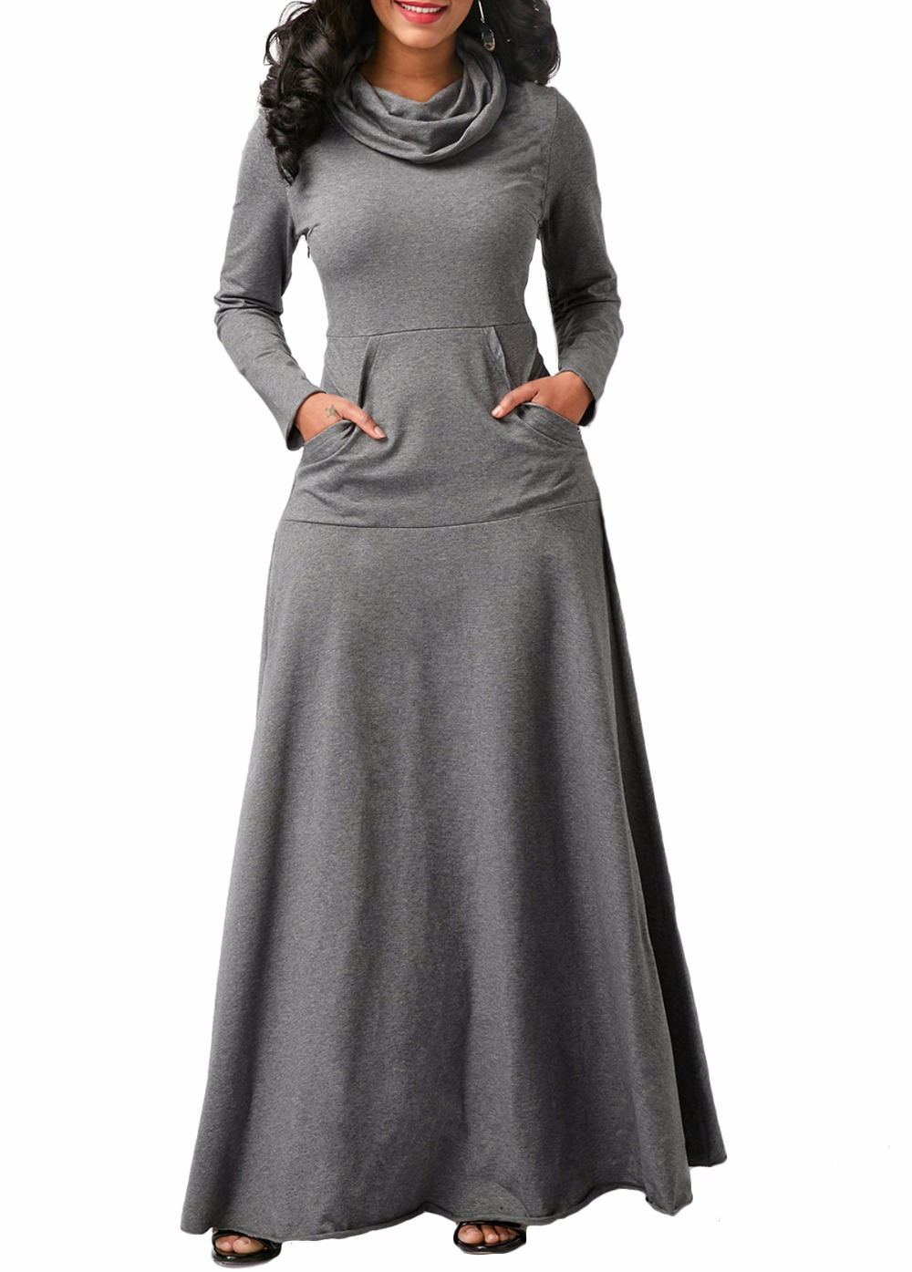 fddf7ad99f23 Women Solid Color Heaps Collar Cotton One Piece Dress New Pullover Long  Sleeve Pocket Full Length Party Dress Robe Female Vestid-in Dresses from  Women s ...