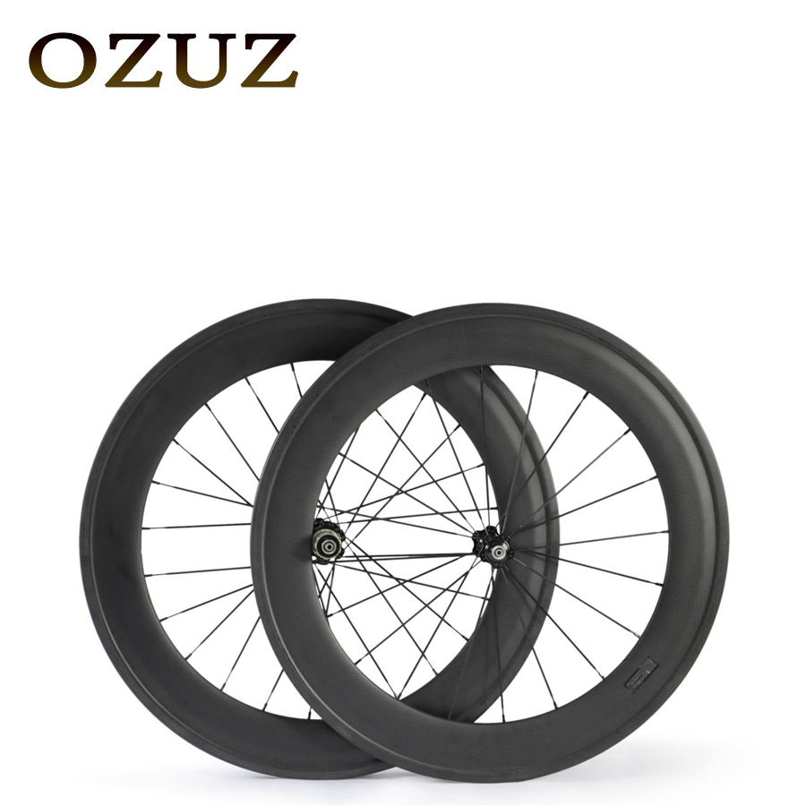 OZUZ 88mm Clincher Tubular Carbon Wheels Carbon Road Bike Bicycle Wheels Novatec 291 Hubs Wheelset