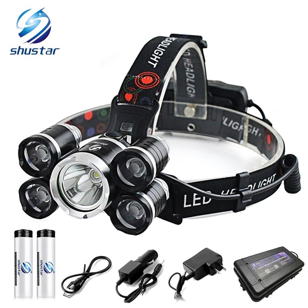 5xT6 Super brilhante Farol LEVOU 12000 LM farol 4 modos utdoor holofote luz pesca camping luz Uso 2x18650 bateria