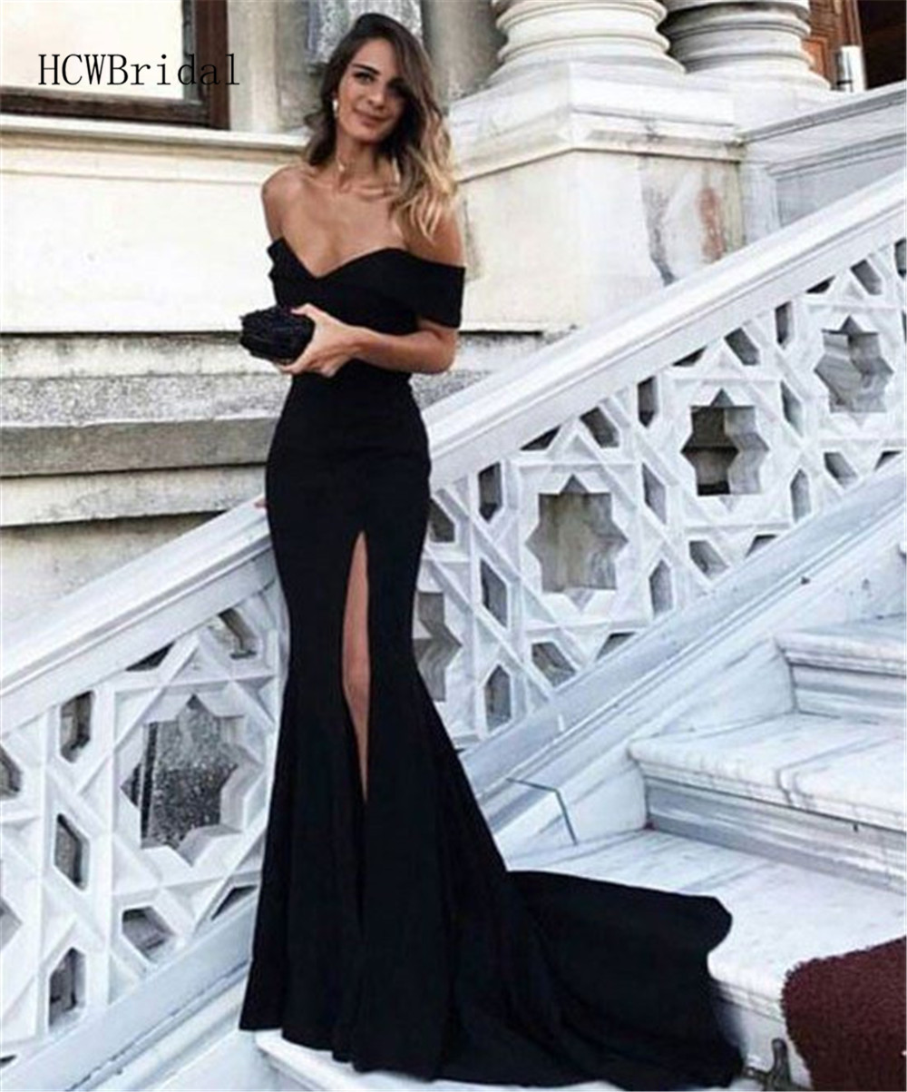 High Split Mermaid Evening Dress Off The Shoulder Sweep Train Black Long Prom Gown 2019 High Quality Wedding Party Dresses Cheap
