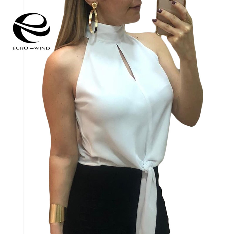 Plus Size 2XL Womens Tops and   Blouses   2019 Summer Sleeveless O-neck Solid Bandage   Blouse   Women's   Shirt   Blusas Mujer De Moda Top