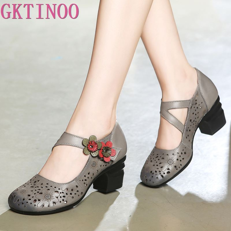 GKTINOO Original Hollow Cowhide Flower Women Fashion Shoes High Heels 2020 New Sandals Women Shoes Elegant Genuine Leather Shoes