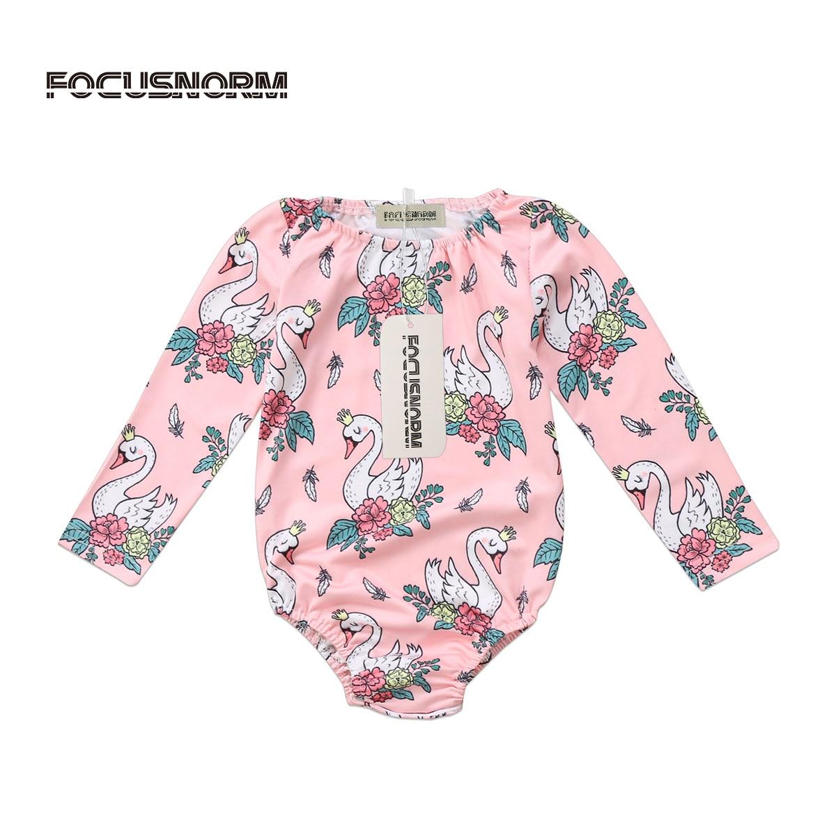 Cute Cartoon Swan Romper Jumpsuit Floral Flower Tops Newborn Baby Girls Clothes 0-2Y