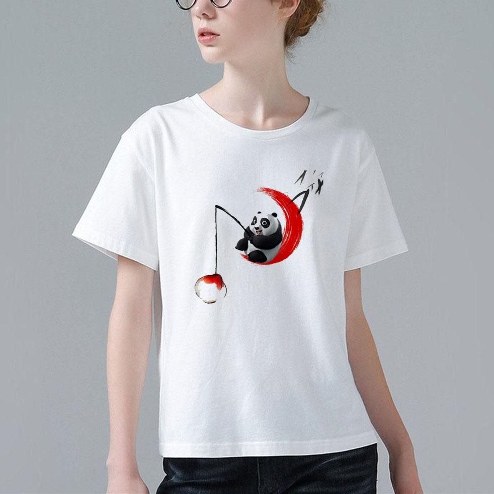 2017 Fashion Women Funny Harajuku T Shirt Cartoon Anime Kung Fu Panda Design Tee Shirt Good Quality Cute Panda Printed Tops G002