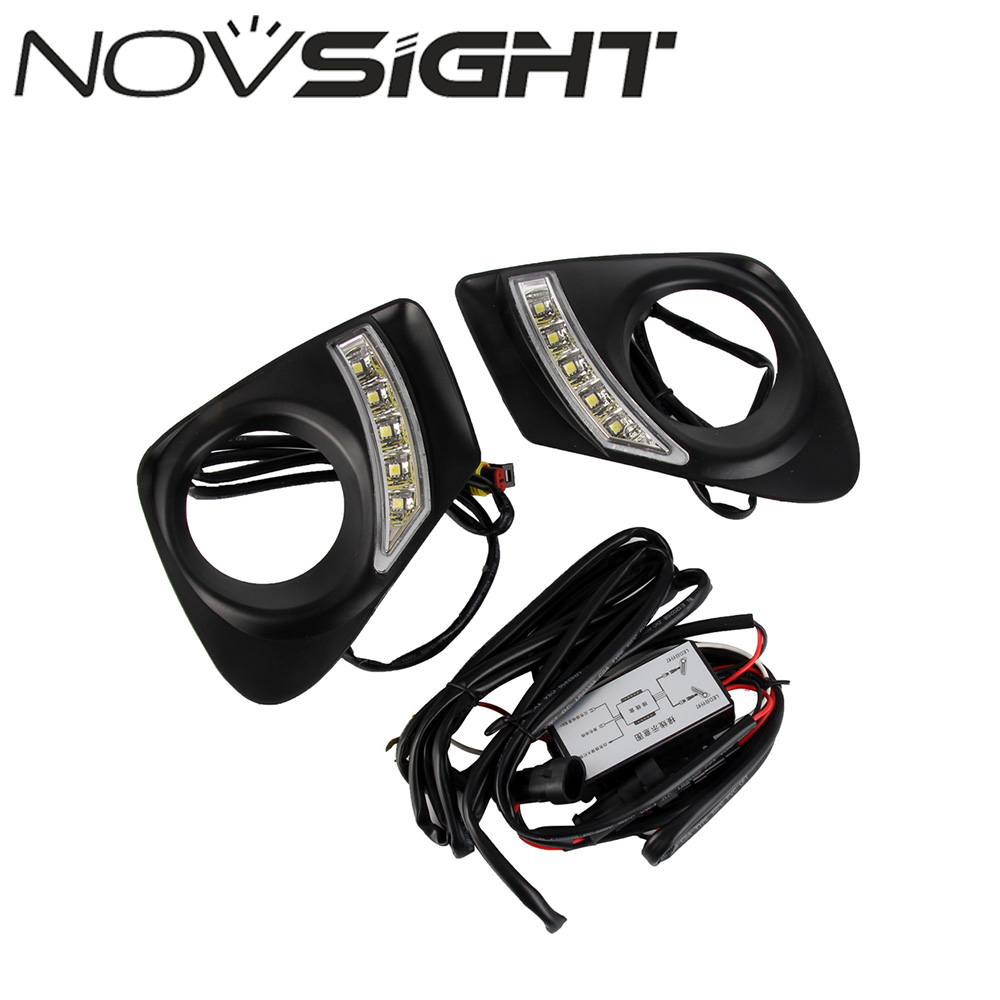 NOVSIGHT High Quality Car LED Daytime Running Lights DRL White Driving Lamp For Toyota Corolla 2011-2013 high quality led round daytime driving running light drl for toyota sienna 2011 car fog lamp headlight super white