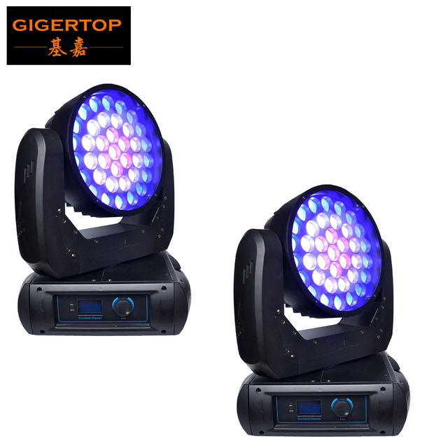 Freeshipping 2PCS Super 37x12W Cree Led Moving Head Light Zoom Wash Function Plastic Lamp Cover Plate 22DMX Channels Fan Cooling