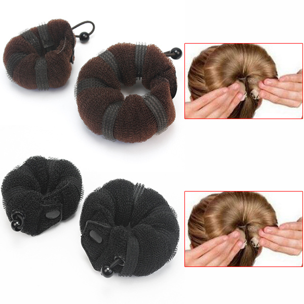 2pcs Handy Hair Styling Updo Bun Maker Soft Hairstyle DIY Tool For Women Brown