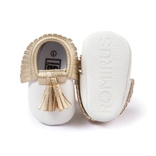 White PU Suede Leather Newborn Baby Boy Girl Baby Moccasins Soft Moccs Shoes Bebe Fringe Soft Soled Non-slip Footwear Crib Shoe