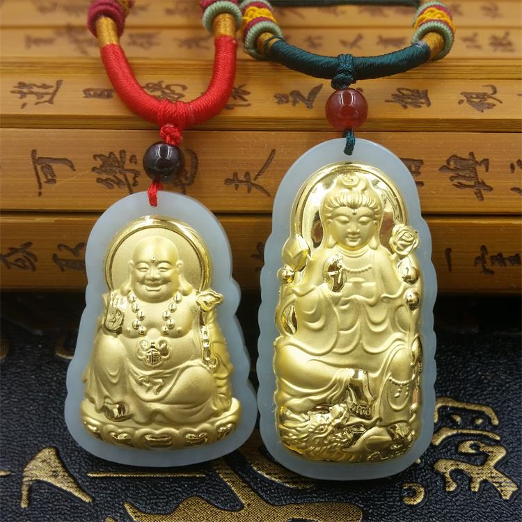 Natural HeTian Yu white jade Mosaic Gold Buddha Guanyin pendant transshipment amulet jade Necklace + Certificate Fashion Jewelry natural jadeite dragon brand lace jade pendant zodiac dragon transshipment yu pei jade pendant necklace for women and men