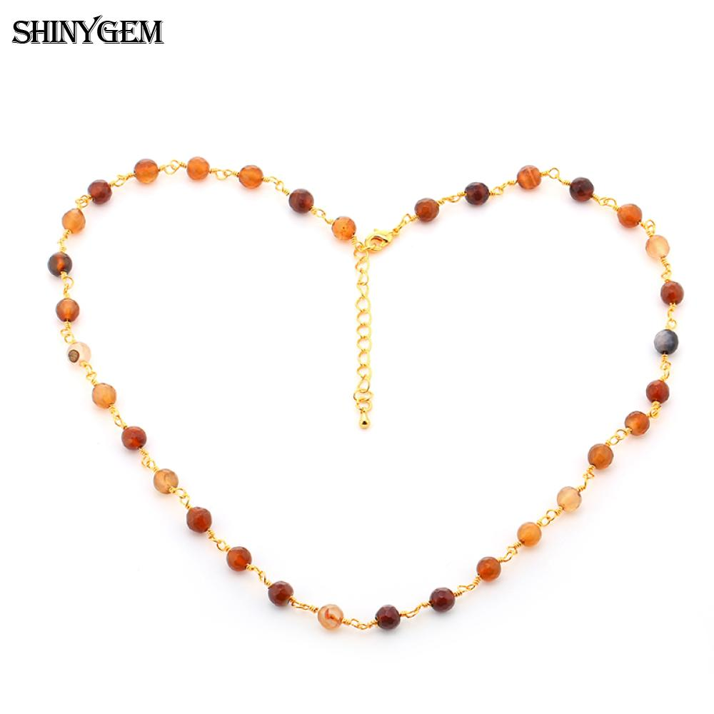 ShinyGem Mode Chaîne En Or Collier À La Main Cut Strass Agates Collier En Pierre Naturelle Multi Couleurs Longs Colliers Pour Femmes