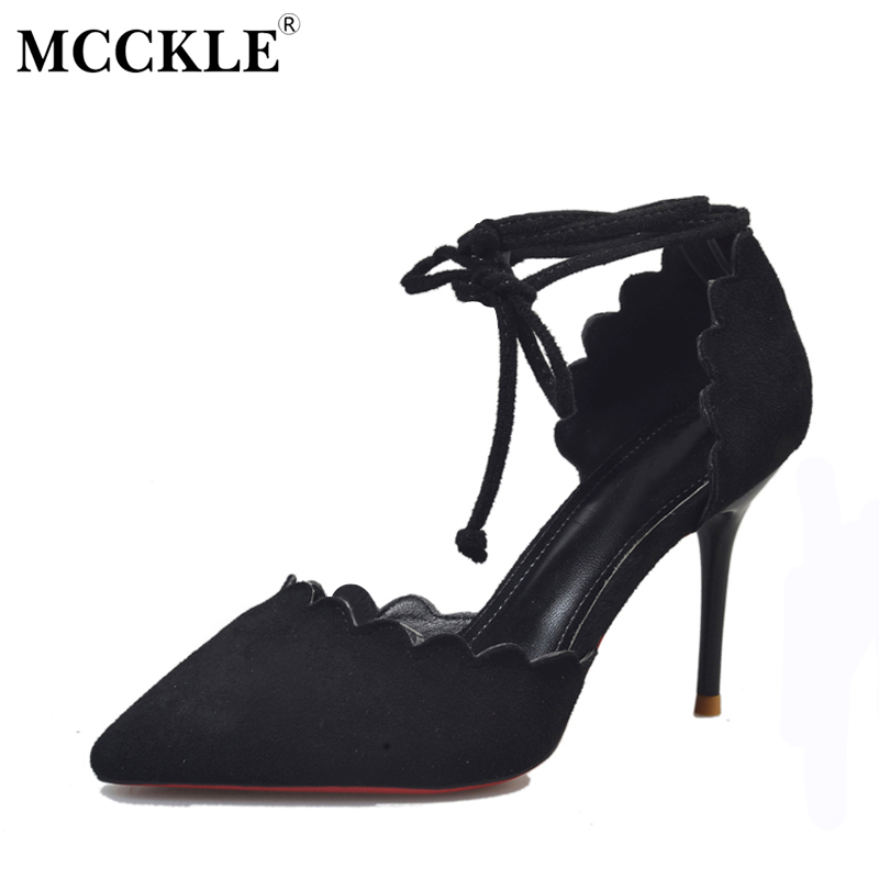 MCCKLE 2017 Fashion Shoes Women High Heels Woman Black Ankle Wrap Pumps Casual Comfortable Pointed Toe Spring&Autumn New mcckle 2017 fashion woman shoes flat women platform round toe lace up ladies office black casual comfortable spring