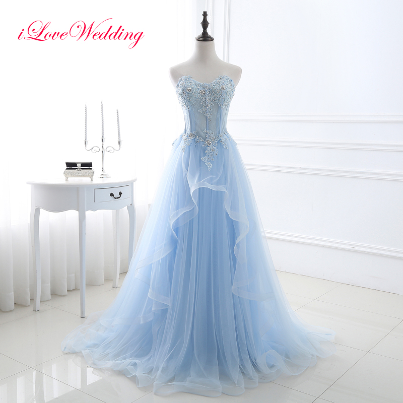Elegant Light Blue Long Prom Dresses Sleeveless Sweetheart Tulle Lace Applique Beading Women Bandage Prom Gowns Real Sample