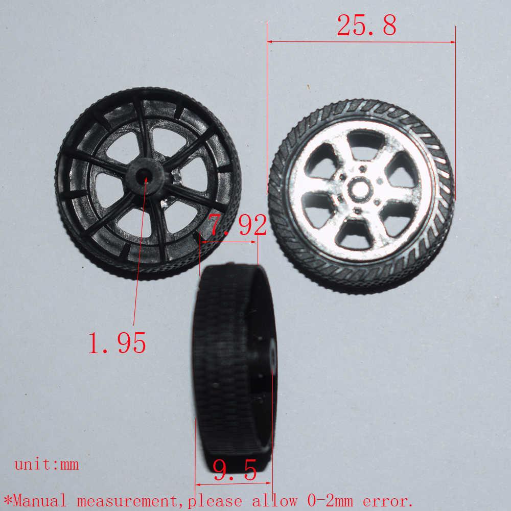 10/100/1000 piezas agujero 2xOD 26mm rueda de plástico tamiya/yuanmbm juguete rueda de coche diy juguete parte modelo de tecnología/rc/bebé juguetes T262A