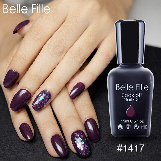 Belle Fille Nail Gel Purple Soak Off UV Gel Nail Polish Manicure Nail Art Design Gel Polish UV Lacquer Gelpolish